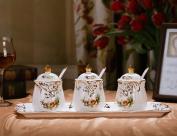 Ceramics Spice Jar European Style Luxurious Condiment Bottles Salt Cans Combination Bone China