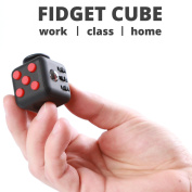 Fidget Toy by FidgetMaster! (Red and Black) |Best Market Quality! 6-Sides, Relieves Stress and Anxiety, Creative Toy for Children and Adults. Desk Toy for Work/Home/Class. Silicon Made.