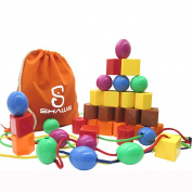 JUMBO PRIMARY STRINGING BEAD SET by SHAWE with 30 Lacing Beads for Toddlers and Babies. Includes 4 Strings, Carrying Nice Tote & Busy Bag - Montessori Toys for Fine Motor Skills Autism OT- A Great Toy for Both Boys & Girls .