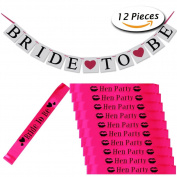 12 Pcs Hen Party Sashes and Bride to Be Bunting Banner for Wedding Decorations Ladies Night Out by Paxcoo
