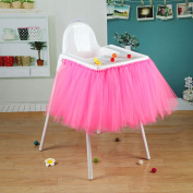 vLoveLife 100cm x 35cm Dark Pink Tulle Tutu Table Skirt For High Chair Baby Shower Birthday Party Decorations Favour