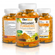Organic Turmeric Premium Capsules Supplements by DietWell with Curcumin and Organic Bioperin Black Pepper | 600mg High Strength | Superior Absorption and Maximum Potency | Joint Support, Brain Booster, Anti-Inflammatory, Antioxidant | Great for Joint P ..