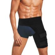 IDEAPRO Groyne Wrap Support, Adjustable Groyne Strain Pain Wrap Hamstring Support One Size Fits Most - Neoprene Brace with Stick Strap Fastener Slip Resistant for Men & Women