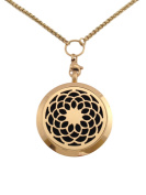 "Essential Oils Diffuser Jewellery Aromatherapy Necklace Gold Plated 316 Stainless Steel Sunflower Pendant Locket 24"" 2.5mm Chain and 7 Washable Refill Pads"
