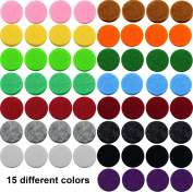 15 colours 60pcs Aromatherapy Necklace Refill Pad / Replacement Pads / Thickened / Washable / Super Absorbent / 22mm Diameter