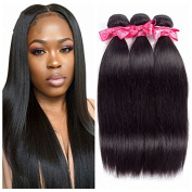 Ms Love Brazilian Straight Human Hair 3 Bundles Unprocessed Brazilian Virgin Hair Weave Extensions Natural Black Colour 95-100g/pc