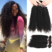 Ali Funmi Brazilian Virgin Curly Hair Weave 36cm 3 Bundles Unprocessed Afro Kinkys Curly Human Hair Extensions Natural Colour Can Be Dyed and Bleached Tangle Free