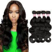 Fabeauty Remy Hair 4 Bundles Body Wave Unprocessed Brazilian Virgin Human Hair Weave Body Wave Hair Bundles Natural Black Mixed Length 400g