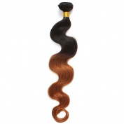 Rosette Hair Bundles Brazilian Ombre Virgin Hair Body Wave Hair Extension/Weft 100% Unprocessed Remy Virgin Human Hair TwonTone colour Natural Black 1b /30# Size 30cm - 60cm (1 Bundle 60cm )