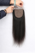 Greatremy Straight Silk Base Closure with Baby Hair 10cm x 10cm Human Hair Bleached Knots Natural Colour 30cm