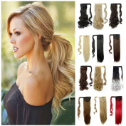 Drawstring Ponytail Wrap Around Ponytail Clip in Hair Extensions One Piece Magic Paste Long Wavy Curly Soft Silky for Women Ladies Fashion and Beauty