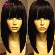 iVogue Hair Short Human Hair Bob Wig with Full Bangs None Lace Human Hair Wigs Malaysia Virgin Hair Silky Straight Machine Made Non Lace Wig for Women