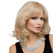 RightOn High Quality Rose Net Women Girls Sexy Fashion Middle Wavy Curly Wig With Free Wig Cap and Comb