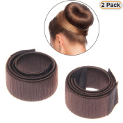Hisight 2pcs Fashion Hair Styling Disc Hair Tool a wig barrette hair ring noble French Twist DIY brown