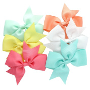 My Lello Medium 10cm Girls Split Tails Boutique Grosgrain Hair-Bow Mixed Variety 6 Pack Modern Pastels