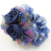 Beautiful Women Girls Rose Lace Mesh Elastic Hair Rope Hair Pearl Hair Ring Ponytail Holder Elastics Ties-Model 1