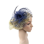 Meiliy Womens Fascinator Hat with Clip and Brooch Flower Bridal Headpieces For Wedding Performance and Party, Navy