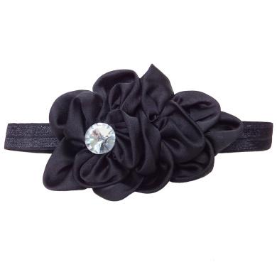 RareLove Baby Girls Headband Black Ribbon Flower with Rhinestone Hair Bands Accessories