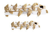 Merroyal 2pc Hot Baby Newborn Mom Gold Leaves Headband Hairband Photo Studio Prop Costume