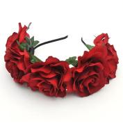 Scala Women Rose Flowers Hairband Branch Wedding Wreath Headband Crown