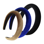 QtGirl 3 Pcs Womens Thick Padded Headbands 2.5cm -Wide 1.5cm -Thick Velvet Alice Bands