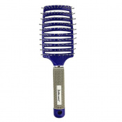Garrelett Professional Salon Soft Complex Vent Curved Hair Brush Rubber Teeth Handle Massage Hair Comb for Men Women Thick Hair Tangle Helper Smoothing Therapy Blue