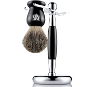 Miusco Pure Badger Hair Shaving Brush and Luxury Stand Shaving Set, Black