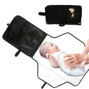 Baby Changing Mat Portable Changing Mat Travel Nappy Changing Nappy Changing Pad with Waterproof Zipper Stroller Nappies Storage Kit Station Clutch Purse for Travel & Home (Black Monkey) by Duomishu