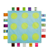 Almondcy Baby Tag, Taggy Blanket - Blue with Green Point - with Plain Green Textured Underside