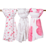 Premium Organic Cotton Large Muslin Squares in 3 Beautiful Prints, Packaged in Exclusive Gift Box