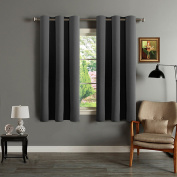 Eyelet Blackout Curtains Window Treatment - H.Versailtex Bedroom Solid Thermal Supersoft Blackout Curtains with Two FREE Tiebacks - Charcoal, 120cm Width x 140cm Drop, Set of 2 pieces