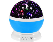 Multicolor Moon Star Light Projector for Children's Lighting, Nursery Decor, Bedside Night Lights and Sleep Soother Lamps with a Removable White Dome use for Table Night Lights