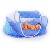 ASIV Folding Baby Pop Up Travel Bassinette, include Mosquito Net, Pillow, Mattress, Music box and Mesh Bag, 108 x 65 x 52 cm, Blue