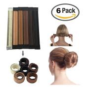 JJMG NEW 6pcs Bun Maker DIY Women Girls Perfect Hair Bun Making Styling French Twist Donut Bun Hairstyle Tool - 6 shades