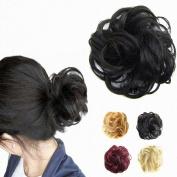 FESHFEN Wavy Curly Messy Hair Bun Extensions Donut Hair Chignons Hair Piece Wig Scrunchy Scrunchie Hair Bun Updo Hairpiece Hair Ribbon Ponytail Extensions Hair Extensions-1# Black