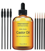 100% Pure Organic Castor Oil Hexane free - Great for Eyelashes, Hair, Eyebrows, Face and Skin , Hair Growth & Best Moisturiser for Skin & Hair with Treatment Applicator Kit, 1oz