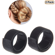 Hisight 2pcs Fashion Hair Styling Disc Hair Tool a wig barrette hair ring noble French Twist DIY black