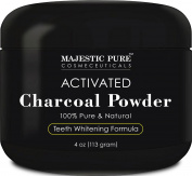 Majestic Pure Teeth Whitening Activated Charcoal Powder - Natural Teeth Whitener with Coconut Charcoal, 120ml