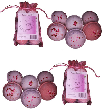 """Wholesale 12 Bath Bombs Double Gift Set, Love & Hearts - Handmade with Shea Butter and Organic Sustainable Palm Oil, """"See, Smell and See The Difference"""""""