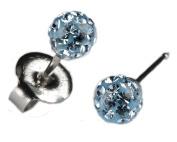 Silver Ear Piercing Earrings Studs 4.5mm Fireball Aqua Crystal Studex System 75 Hypoallergenic