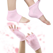 Codream Cotton Moisturising Gloves and Socks Set Day Night Instantly Soften Repair Eczema Dry Rough and Cracked Hands Feet Gel Lining Infused with Essential Oils and Vitamins Pink