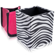 SHANY Cosmetics 2-in-1 Patterned Makeup Brush Holder with Removable Cosmetics Organiser Insert - Sassy Zebra