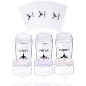 Ejiubas 3 Pcs Jelly Clear Nail Stampers with Rhinestone Cap Sandy Scrapers Nail Stamping Kits DIY Nail Art Tools