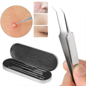TOOPOOT 5Pcs Stainless Steel Blackhead Facial Acne Clip Needle Tweezers Pimple Remover Extractor Tool