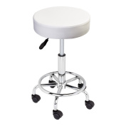 GotHobby White Adjustable Tattoo Salon Stool Rolling Swivel Chair Facial Beauty Massage