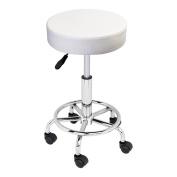 GotHobby White Adjustable Tattoo Salon Stool Rolling Swivel Chair Facial Beauty Massage