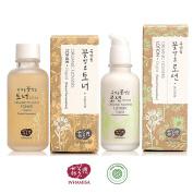 Whamisa Natural Fermentation Organic Flowers Original Toner & Original Lotion Skin Care Set + Whamisa Organic Facial Mask & A Sample Kit of 8
