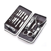 Huluwa Manicure Set Stainless Steel Nail Clippers Set Personal Manicure & Pedicure Set Travel & Grooming Kit, Set of 12
