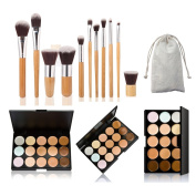 AMarkUp 15 Colours Cosmetics Cream Contour Foundation Concealer Palette with 11pcs Bamboo Face Makeup Brushes Set