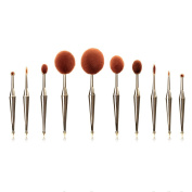 Makeup Brushes, Top Super 10Pcs Pro Oval Makeup Brush set Cosmetic Foundation Liquid Cream Powder Brush with Soft Toothbrush Shaped Design
